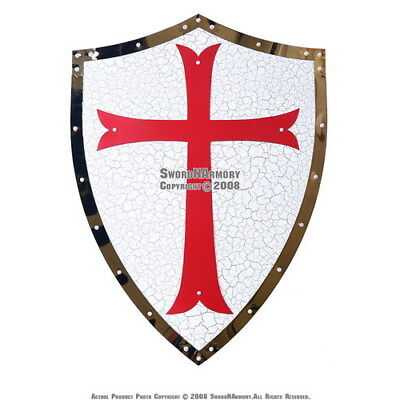 Medieval Knight Templar Crusader Metal Shield Armour with Red Cross Symbol