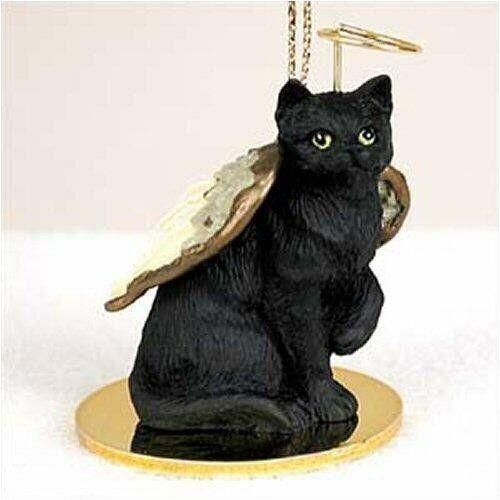 BLACK  SHORTHAIR TABBY ANGEL CAT CHRISTMAS ORNAMENT HOLIDAY Figurine Cats