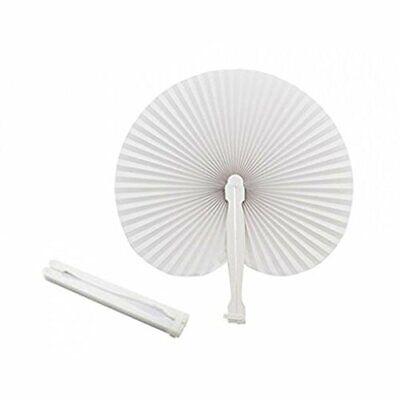 Abanicos blancos plegables de plástico y papel, para fiestas y eventos (50