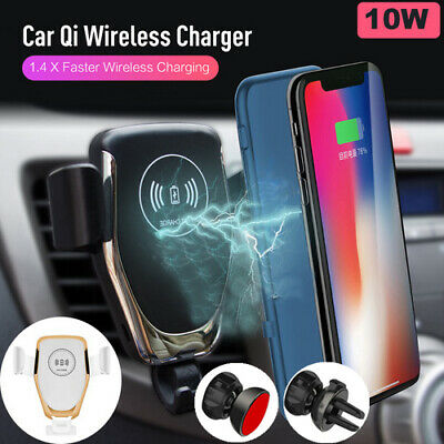 10W Qi Wireless Charger Car Air Vent Mount Holder For iPhone X 8 Samsung S8 S9 +