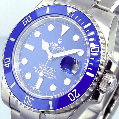 $29750.00 - UNWORN ROLEX 116619 18K WHITE GOLD CERAMIC SUBMARINER BLUE DIAL