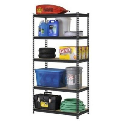 Muscle Rack Urwm185blk Black Steel Storage Rack 5 Adjustable Shelves 3000 Lb.