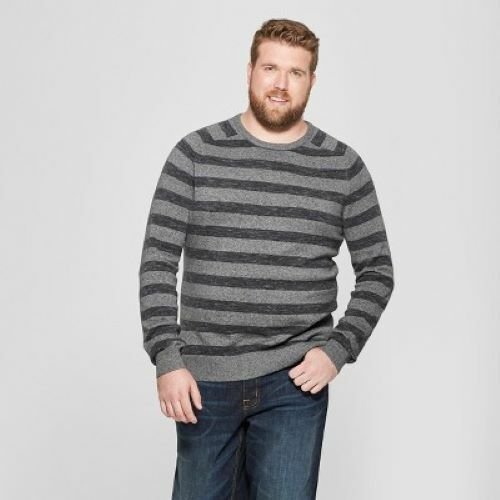 Men's Big & Tall Striped Crew Neck Sweater – Goodfellow & Co Charcoal Stripe 5XB Clothing, Shoes & Accessories