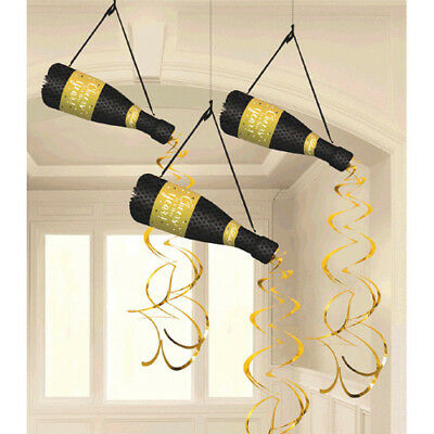 NEW YEAR'S EVE Champagne HONEYCOMB DECORATIONS (3) ~ Birthday Party Supplies