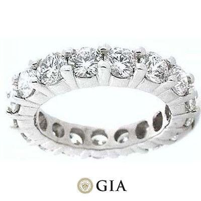 5.62 ct Round Diamond Ring Platinum Eternity Band E-F VS GIA Size 6 0.40 ct each