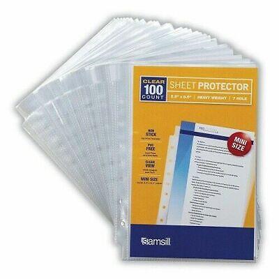 100 Mini Clear Heavyweight Sheet Protectors Top Loading 7 Hole 5.5 X 8.5 Inch