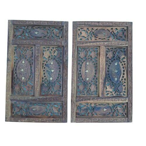 Pair Vintage Anglo Indian Carved Wood Fretwork Door Panels