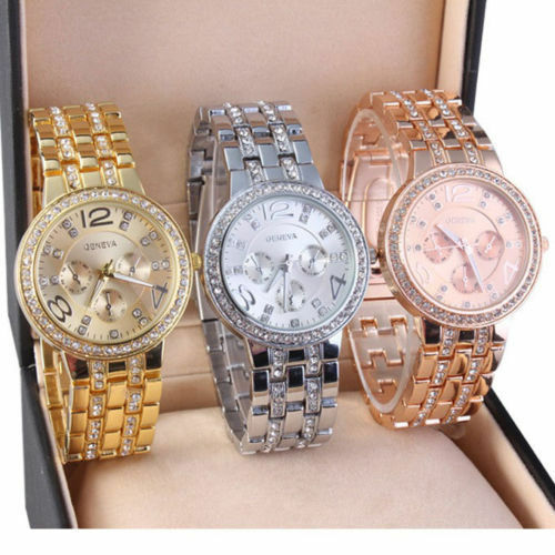 $5.50 - Luxury Fashion Geneva Women's Crystal Stainless Steel Quartz Analog Wrist Watch
