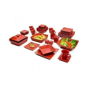 dinnerware set service for 6 square red plates bowls cups
