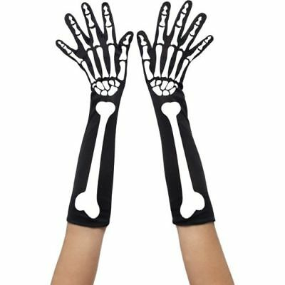 Smi - Halloween Kostüm Zubehör Skelett Handschuhe lang gruselig - Gruselig Sexy Kostüm