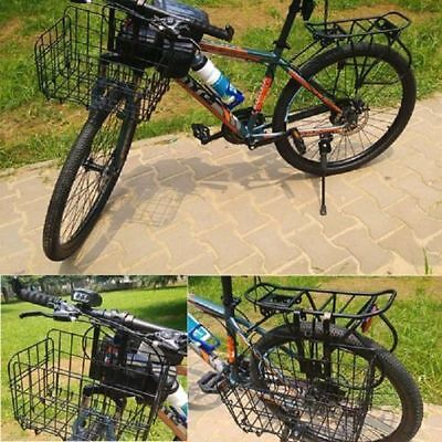 Bicycle Basket Wire Mesh Fold-Up Bike Front Handlebar Storage Rear Hanging