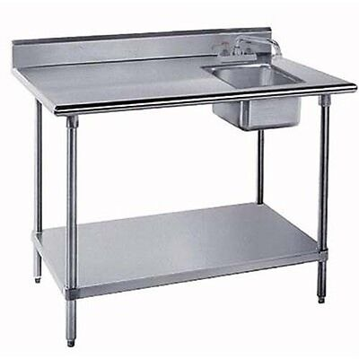 30x48 All Stainless Steel Work Table With Prep Sink On Right