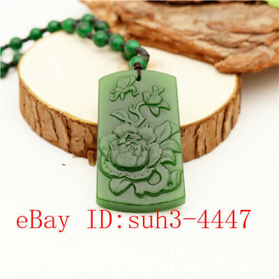 Green Jade Butterfly Flower Pendant Necklace Charm Jewellery Fashion Amulet 蝶恋花 (Green Jade Butterfly Pendant)