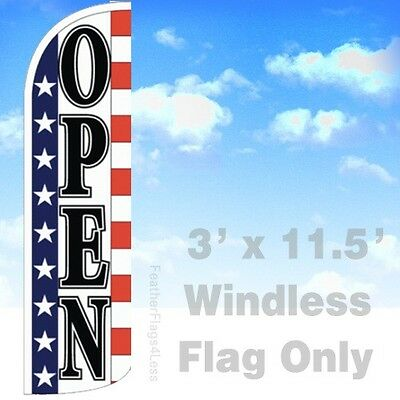 Open - Windless Swooper Feather Flag Banner Sign 3x11.5 - Stars Stripes Wq