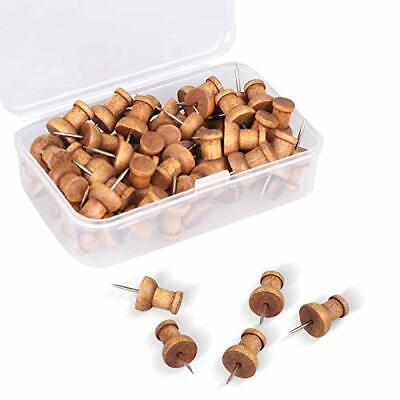 60 Pcs Wood Push Pins Walnut Standard Wooden Thumb Tacks Decorative For Cork