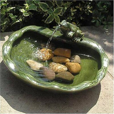 Green Frog Glazed Ceramic Outdoor Water Feature (Solar Powered) by Smart Garden