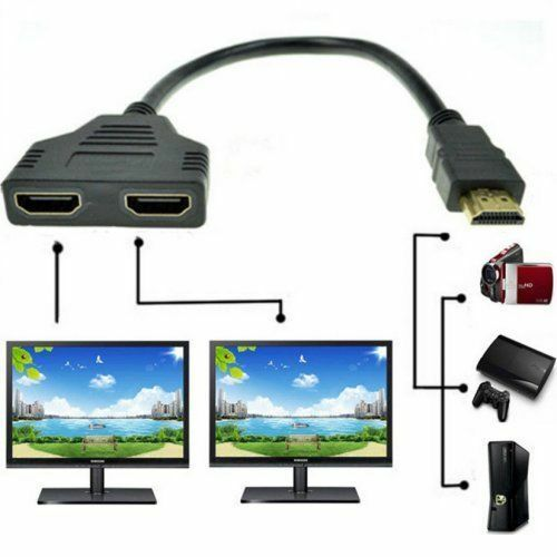 1080P HDMI Male To Dual HDMI Female 1 to 2 Way Splitter Cabl