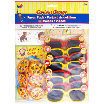 CURIOUS GEORGE Celebrate FAVOR PACK (48pc) ~ Birthday Party Supplies Mega Mix - George Supplies
