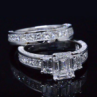 Genuine 4.20 Ct 3-Stone Emerald Cut Diamond Bridal Ring Set F, VS1 GIA Platinum