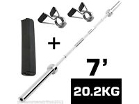 """7ft Olympic 2"""" Weight Lifting Barbell Bar Weights & Spring Collars & Neck Support"""