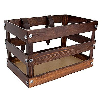 """Sunlite Bicycle Classic Crate Wooden Front Bike Basket, 14 x 9 x 9"""", Brown"""