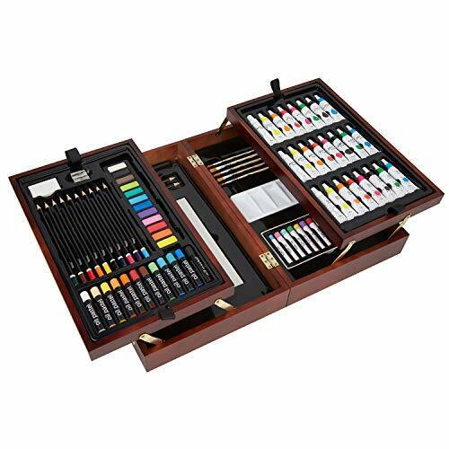 Deluxe Art Set in Wooden Case, with Soft Oil Pastels, Acrylic  Watercolor Paints