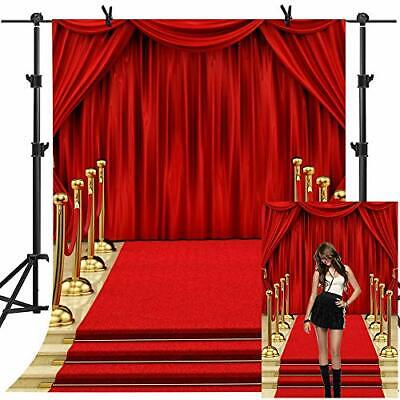 MME Backdrop 5x7ft Red Curtain Background Hollywood Red Carpet Stage 5x7ft  - $28.36