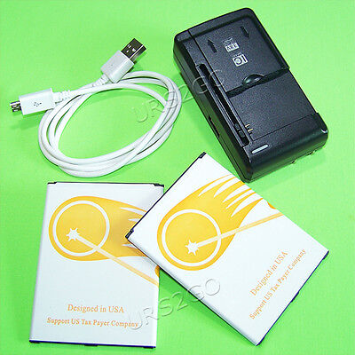 2x 5090mAh Battery+Universal Charger Cable For AT&T Samsung Galaxy Mega SGH-I527
