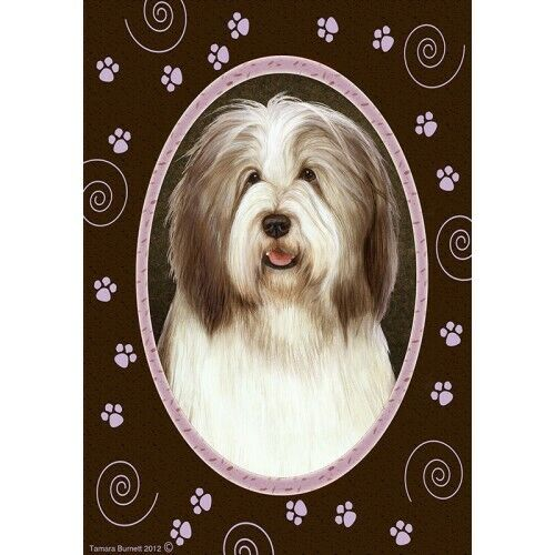 Paws House Flag - Brown and White Bearded Collie 17482