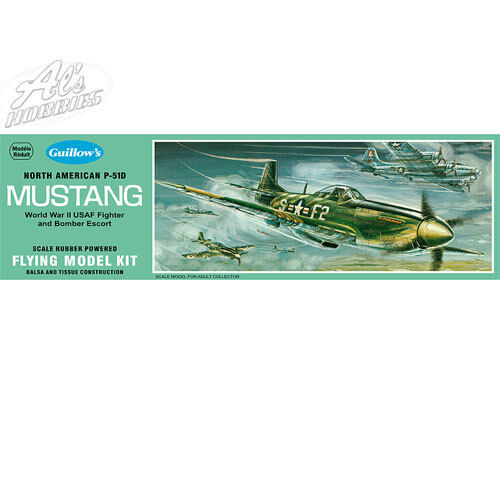"Guillows North American P-51 Mustang 905 Balsa Aircraft 17.25"" Flying Model Kit"
