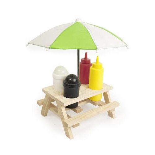 Backyard Umbrella Condiment Set : Details about CONDIMENT HOLDER PICNIC SAUCES WOODEN BENCH UMBRELLA SET