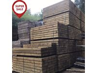 NEW BRITISH ECO TREATED SLEEPERS 20 PACK SPECIAL SAVINGS 2.4m x 200mm X 100mm