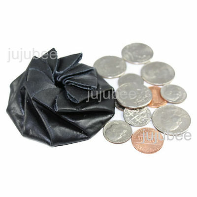 Coin Purse Change Pouch Leather Spiral Squeeze Rose