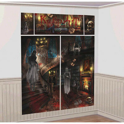 HALLOWEEN Haunted Mansion WALL POSTER DECORATING KIT (5pc) ~ Party Supplies - Haunted Mansion Halloween Decorations