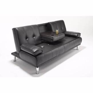 CHEAP GREY WHITE BLACK BROWN PU LEATHER / FABRIC SOFA BED FUTON