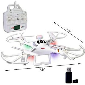 "Quadcopter Drone 7.5"" w/Camera, Lights & Flip 2.4GHz 6-Ch/6-Axis"