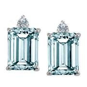 Emerald Cut Aquamarine Earrings
