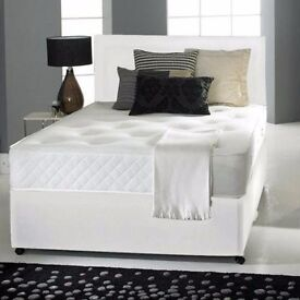 "◄◄Best Buy; Premium Quality; Strong Base►►New Double/Small Double Divan Bed w 9"" Deep Quilt Mattress"