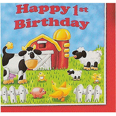 BARNYARD On the Farm 1st Birthday LUNCH NAPKINS (16) ~ First Party Supplies Blue](Barnyard Birthday Party Supplies)