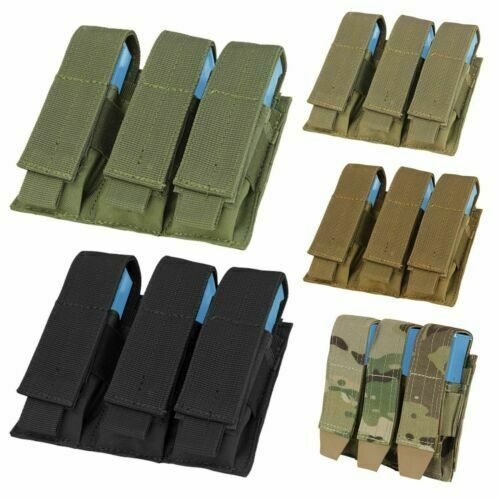 Condor MA52 MOLLE Tactical Triple Pistol Magazine Mag Holster Sheath Pouch