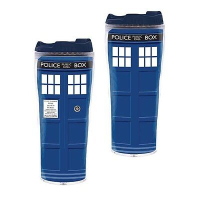 One Doctor Who Like Police Box Travel  Mug Insulated Tumbler Cup - 12 oz