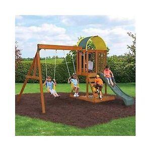 wood swingset cedar playset outdoor backyard play slide fort kids fun