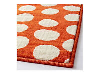 "LARGE ""ORANGE+WHITE"" LOW-PILE RUG 195x133CMS .. NEW+UNUSED+SEALED"