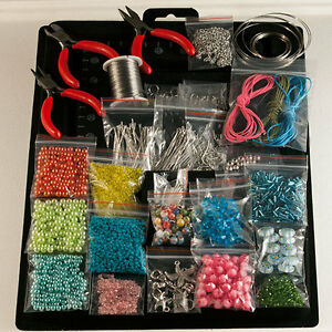 Jewellery-Making-starter-kit-beads-pliers-tools-findings-7-color-variations