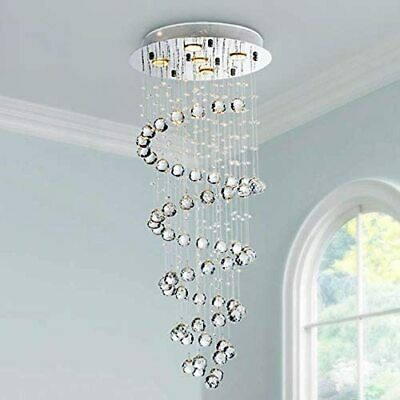 Saint Mossi Modern K9 Crystal Spiral Raindrop Chandelier Lighting SM-DY-1603002