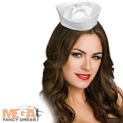 Mini White Sailor Hat Ladies Fancy Dress Navy Uniform Womens Nautical Costume Ac - White Navy Uniform Costume