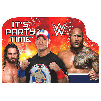 Wwe Birthday Cards (WWE WRESTLING BASH INVITATIONS (8) ~ Birthday Party Supplies Stationery)