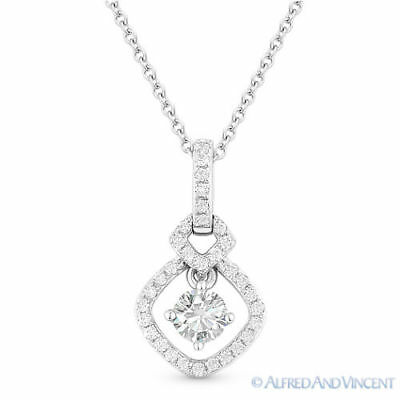 Charles & Colvard Round Cut Moissanite 14k White Gold Pendant & Chain Necklace 14k Moissanite Necklace