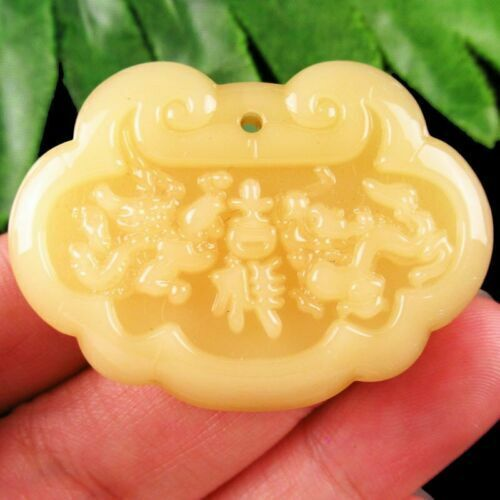 1Pcs 12.9g Carved Yellow Jade 42x30x5mm Dragon and Phoenix Pendant Bead #1986