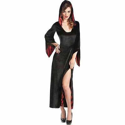 LAST ONE~NEW~ROBE HOODED, Black Red Striped Adult Women Halloween Costume SZ L](Halloween Costumes Black Robe)